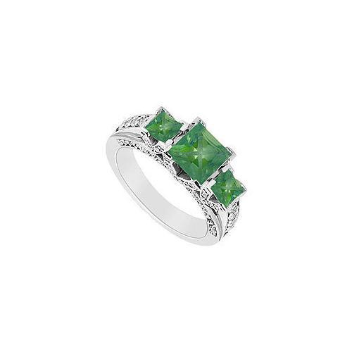 Emerald and Diamond Engagement Ring : 14K White Gold - 2.75 CT TGW-JewelryKorner-com