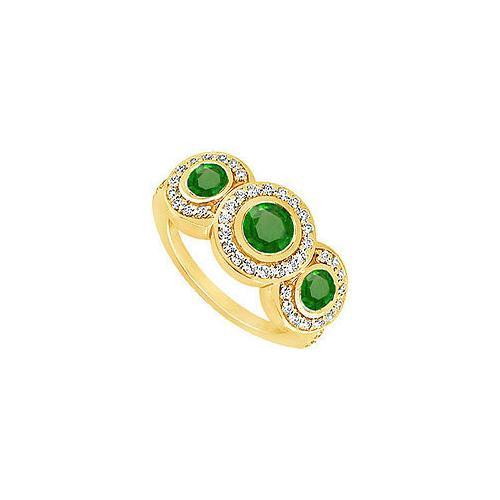 Emerald and Diamond Engagement Ring : 14K Yellow Gold - 0.66 CT TGW-JewelryKorner-com
