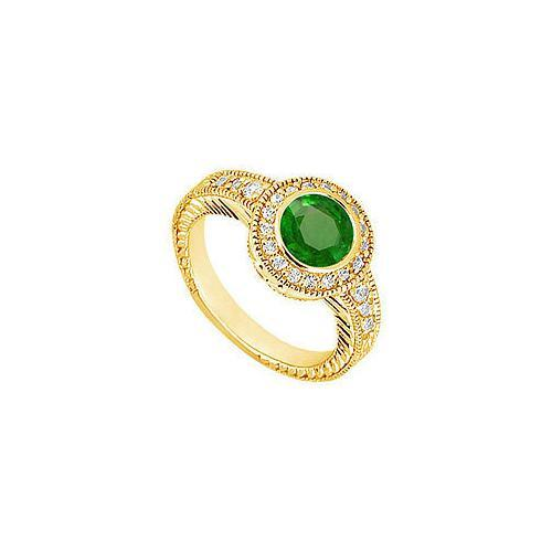 Emerald and Diamond Engagement Ring : 14K Yellow Gold - 0.75 CT TGW-JewelryKorner-com