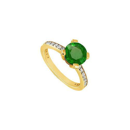 Emerald and Diamond Engagement Ring : 14K Yellow Gold - 1.00 CT TGW-JewelryKorner-com