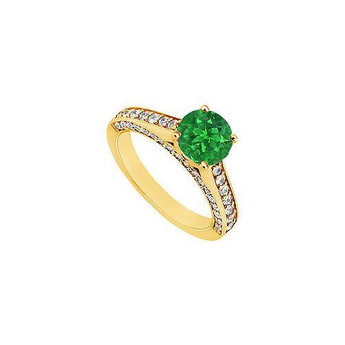 Emerald and Diamond Engagement Ring : 14K Yellow Gold - 1.25 CT TGW-JewelryKorner-com