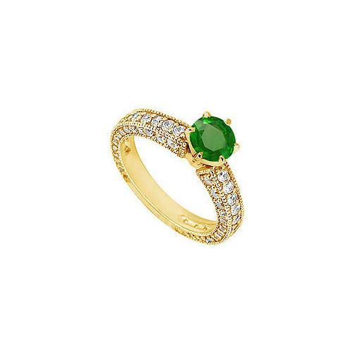 Emerald and Diamond Engagement Ring : 14K Yellow Gold - 1.50 CT TGW-JewelryKorner-com