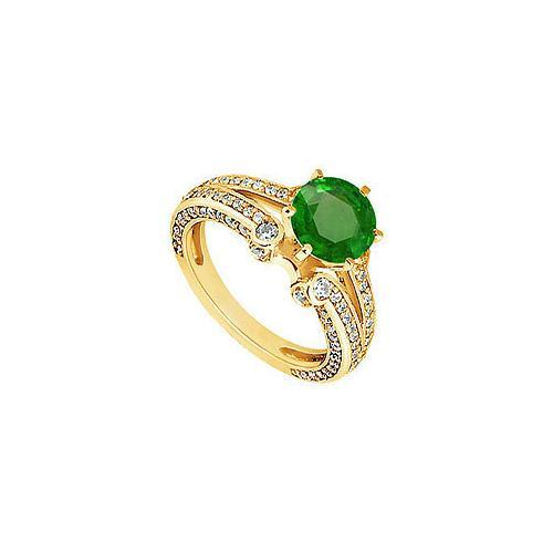 Emerald and Diamond Engagement Ring : 14K Yellow Gold - 1.75 CT TGW-JewelryKorner-com
