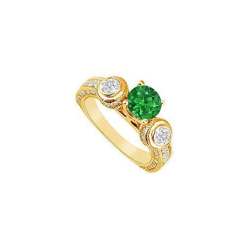 Emerald and Diamond Engagement Ring : 14K Yellow Gold - 2.00 CT TGW-JewelryKorner-com