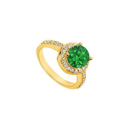Emerald and Diamond Engagement Ring : 14K Yellow Gold - 2.50 CT TGW-JewelryKorner-com