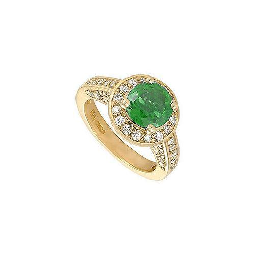Emerald and Diamond Engagement Ring : 14K Yellow Gold - 4.00 CT TGW-JewelryKorner-com