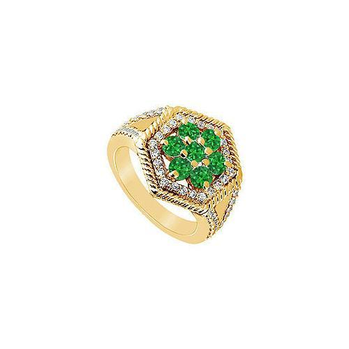 Emerald and Diamond Flower Ring : 14K Yellow Gold - 1.50 CT TGW-JewelryKorner-com