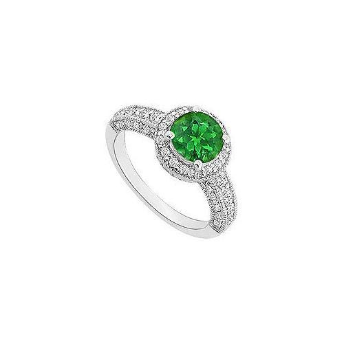 Emerald and Diamond Halo Engagement Ring : 14K White Gold - 1.25 CT TGW-JewelryKorner-com