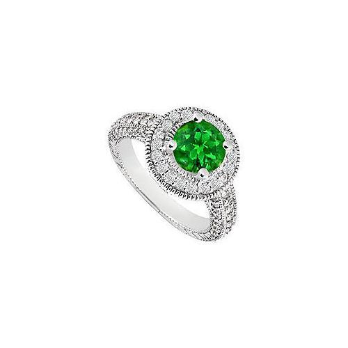 Emerald and Diamond Halo Engagement Ring : 14K White Gold 1.30 CT TGW-JewelryKorner-com