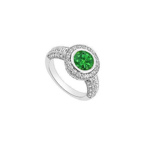 Emerald and Diamond Halo Engagement Ring : 14K White Gold - 1.50 CT TGW-JewelryKorner-com