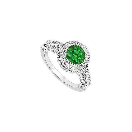 Emerald and Diamond Halo Engagement Ring : 14K White Gold - 1.75 CT TGW-JewelryKorner-com