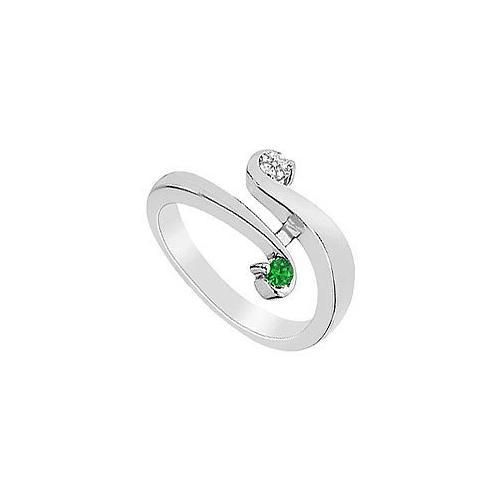 Emerald and Diamond Ring : 14K White Gold - 0.20 CT TGW-JewelryKorner-com