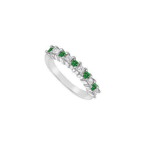 Emerald and Diamond Ring : 14K White Gold - 0.50 CT TGW-JewelryKorner-com