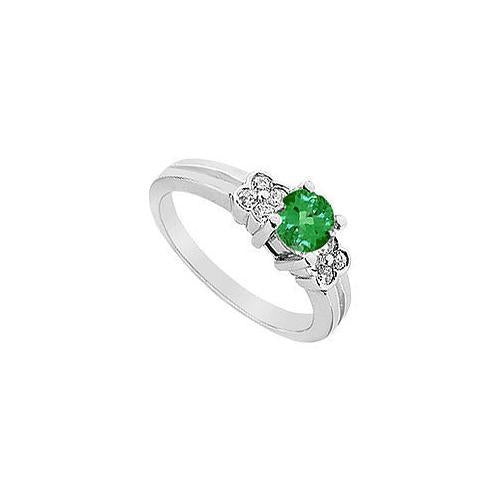 Emerald and Diamond Ring : 14K White Gold - 0.75 CT TGW-JewelryKorner-com