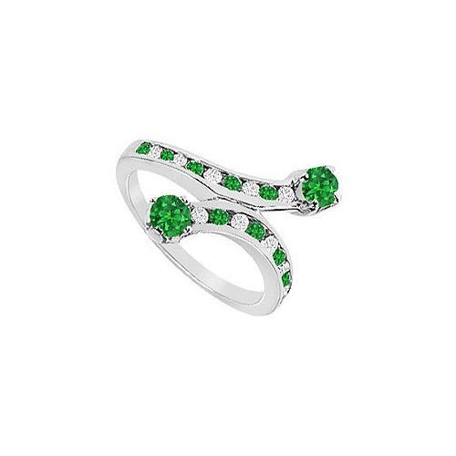 Emerald and Diamond Ring : 14K White Gold - 1.00 CT TGW-JewelryKorner-com