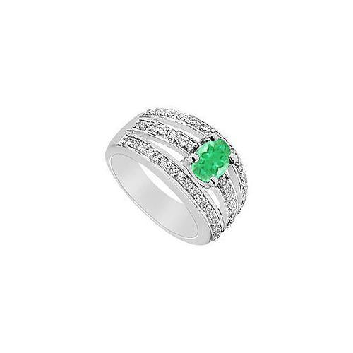 Emerald and Diamond Ring : 14K White Gold - 1.50 CT TGW-JewelryKorner-com