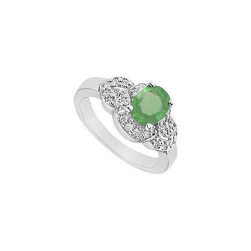 Emerald and Diamond Ring : 14K White Gold - 1.75 CT TGW-JewelryKorner-com