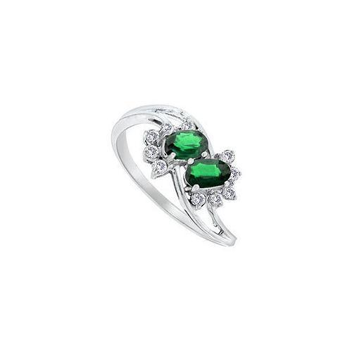 Emerald and Diamond Ring : 14K White Gold - 2.00 CT TGW-JewelryKorner-com