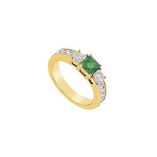 Emerald and Diamond Ring : 14K Yellow Gold - 1.25 CT TGW-JewelryKorner-com