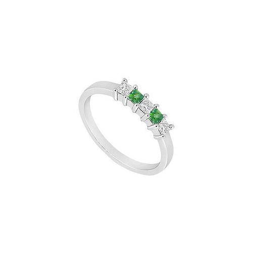 Emerald and Diamond Wedding Band : 14K White Gold - 1.00 CT TGW-JewelryKorner-com