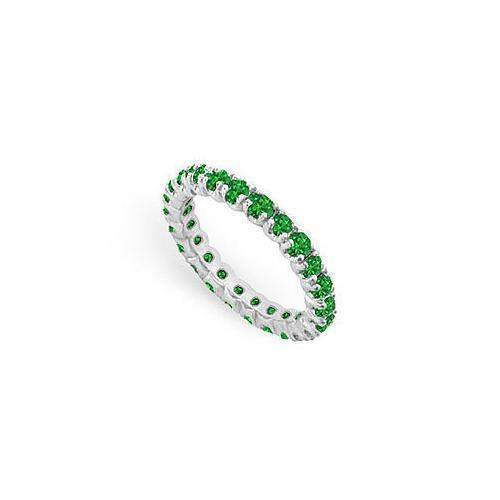 Emerald Eternity Band : 14K White Gold - 1.00 CT TGW-JewelryKorner-com