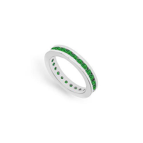 Emerald Eternity Band : 14K White Gold – 1.00 CT TGW-JewelryKorner-com