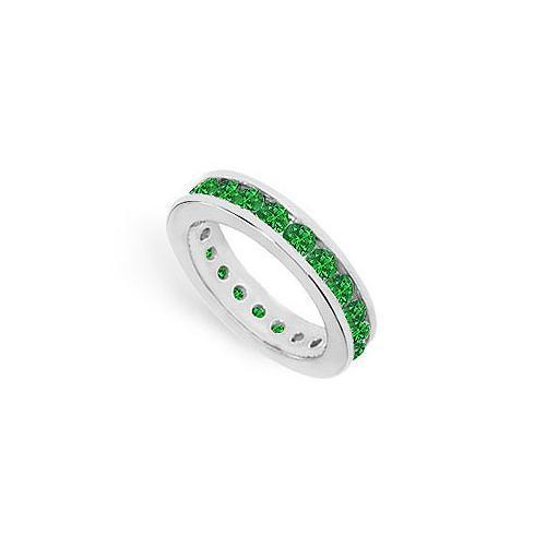 Emerald Eternity Band : 14K White Gold – 2.00 CT TGW-JewelryKorner-com