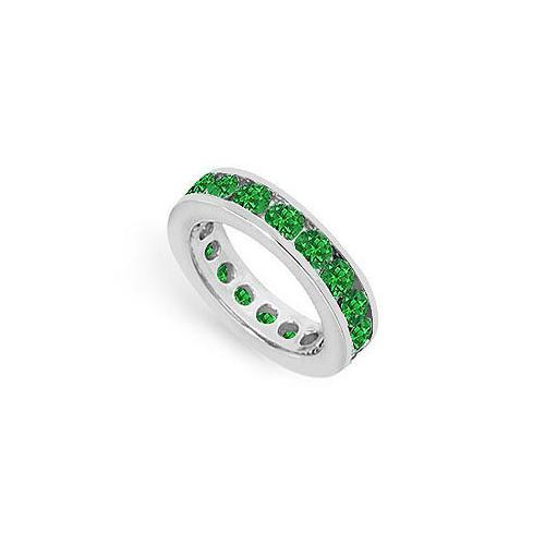 Emerald Eternity Band : 14K White Gold – 3.00 CT TGW-JewelryKorner-com