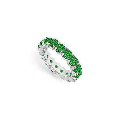 Emerald Eternity Band : 14K White Gold - 4.00 CT TGW-JewelryKorner-com