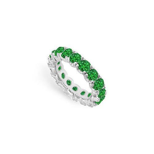 Emerald Eternity Band : 14K White Gold - 5.00 CT TGW-JewelryKorner-com