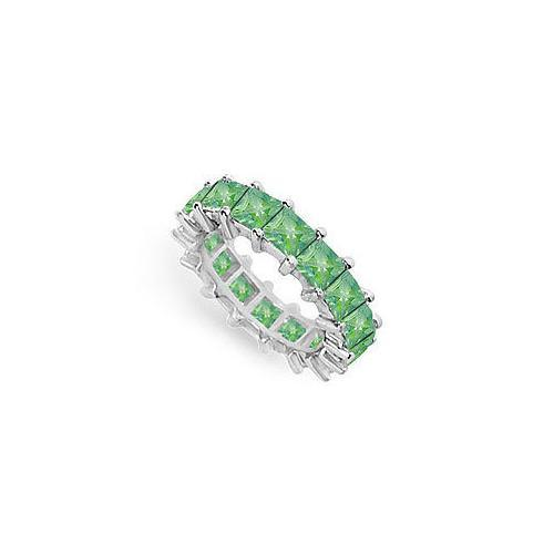 Emerald Eternity Band : 14K White Gold – 5.00 CT TGW-JewelryKorner-com