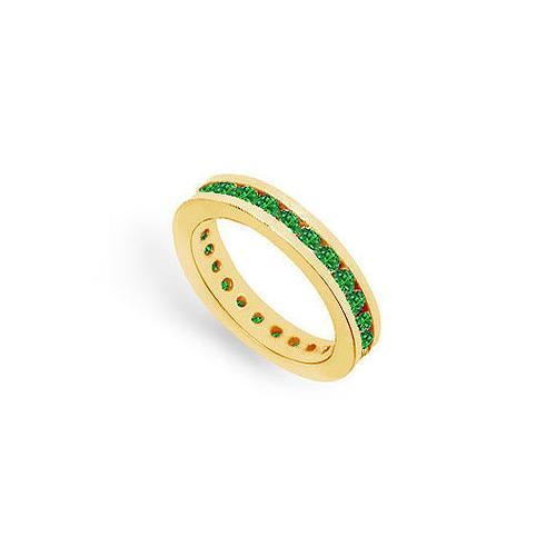 Emerald Eternity Band : 14K Yellow Gold – 1.00 CT TGW-JewelryKorner-com