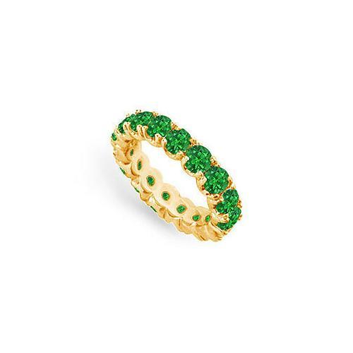 Emerald Eternity Band : 14K Yellow Gold - 4.00 CT TGW-JewelryKorner-com