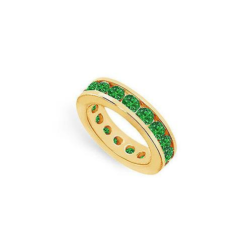 Emerald Eternity Band : 14K Yellow Gold – 4.00 CT TGW-JewelryKorner-com