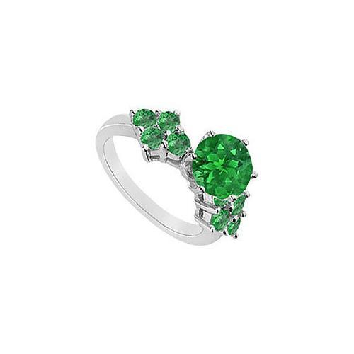 Emerald Ring : 14K White Gold - 1.00 CT TGW-JewelryKorner-com
