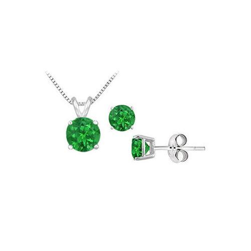 Emerald Solitaire Pendant with Earrings Set in Sterling silver 2.00 CT TGW-JewelryKorner-com