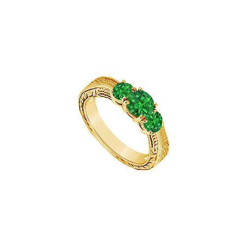 Emerald Three Stone Ring : 14K Yellow Gold - 0.33 CT TGW-JewelryKorner-com