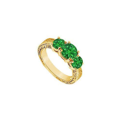 Emerald Three Stone Ring : 14K Yellow Gold - 1.25 CT TGW-JewelryKorner-com
