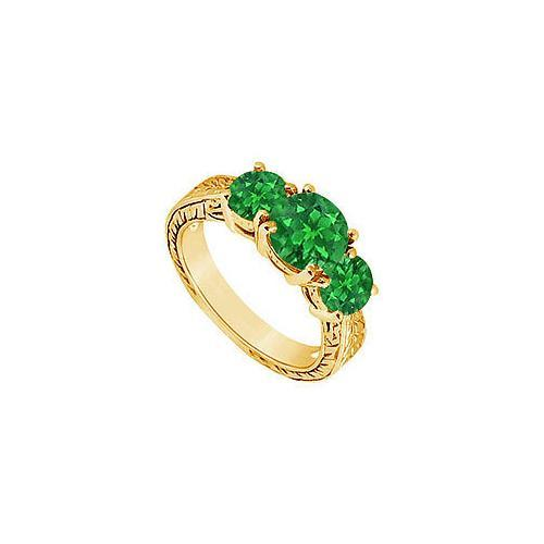 Emerald Three Stone Ring : 14K Yellow Gold - 1.50 CT TGW-JewelryKorner-com