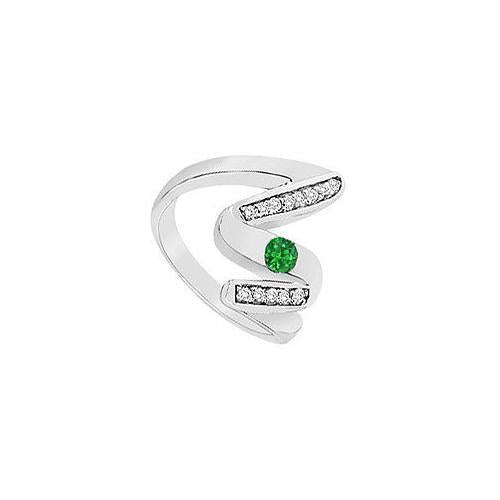 Emerald Zig-Zag Ring : 14K White Gold - 0.50 CT TGW-JewelryKorner-com