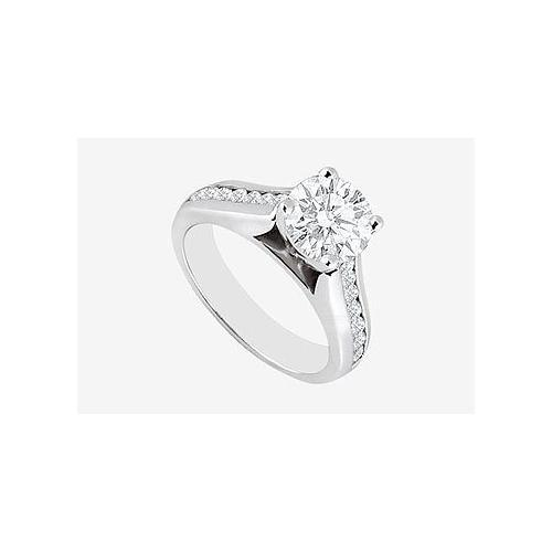 Engagement Ring 2 carat center Cubic Zirconia in 14K White Gold 2.60 Carat TGW-JewelryKorner-com