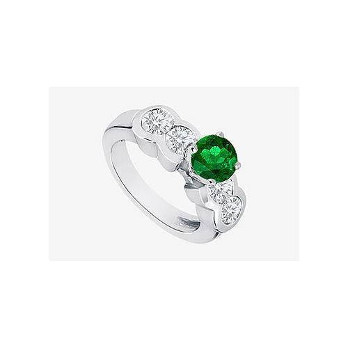 Engagement Ring Diamond and Natural Emerald Prong Set in 14K White Gold 2.20 Carat TGW-JewelryKorner-com