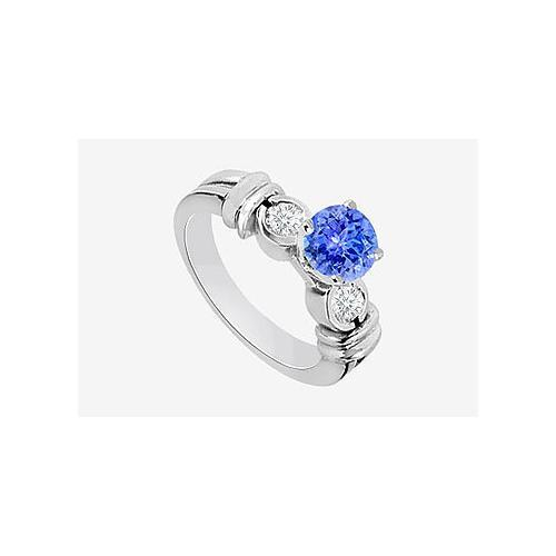 Engagement Ring Diamond and Natural Tanzanite Prong set in 14K White Gold 0.80 Carat TGW-JewelryKorner-com