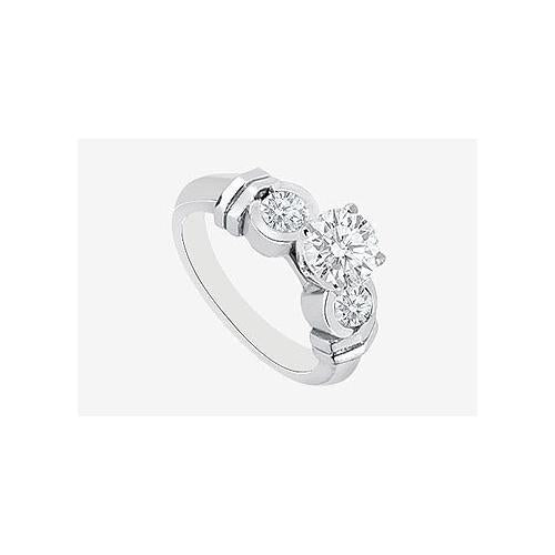 Engagement Ring Diamond Half Carat Center in 14K White Gold 0.90 ct. Diamonds-JewelryKorner-com