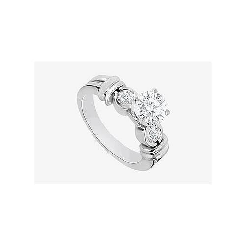 Engagement Ring in 14K White Gold 1.30 Carat TGW Cubic Zirconia .-JewelryKorner-com
