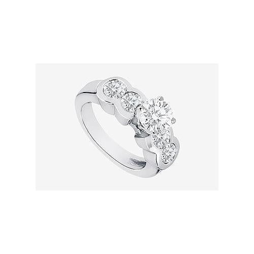 Engagement ring in 14K White Gold with cubic zirconia 3.20 Carat TGW-JewelryKorner-com