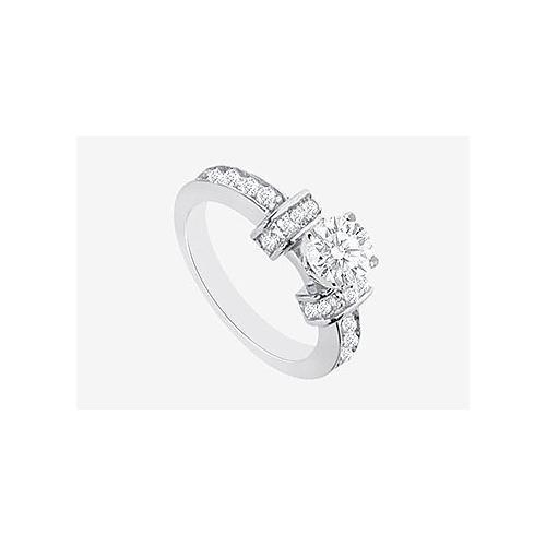 Engagement Ring Prong Set Cubic Zirconia in 14K White Gold 2.10 Carat TGW-JewelryKorner-com