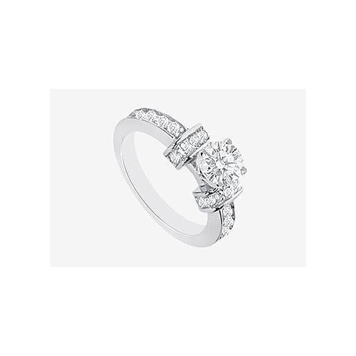 Engagement Ring with Brilliant Cut Round Diamond in 14K White Gold 1.60 carat TDW Diamonds-JewelryKorner-com