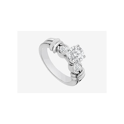 Engagement Rings Diamond 0.80 Carat Diamonds in 14K White Gold Prong Set-JewelryKorner-com
