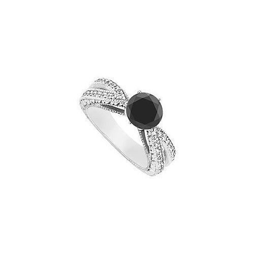Fancy Black Diamond Ring : 14K White Gold - 1.50 CT Diamonds-JewelryKorner-com